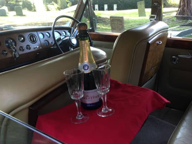 Gold Rolls Royce Wedding-Car-Interior